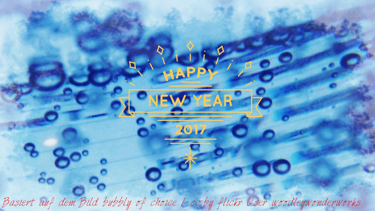 Neujahrsgrüße über einem Blauen Bild mit Blubberblasen...